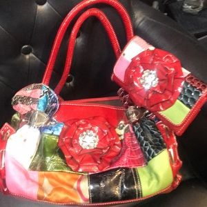 Handbags - Handbag/wallet combo! Super fun and bright!